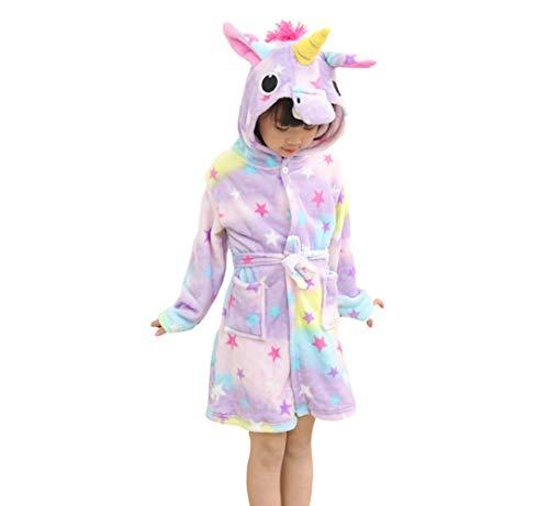 Mit Tiere Kostüm - X-Labor Kinder Baby Flanell Bademantel mit Kapuze Tier Kostüm Badetuch Kapuzenhandtuch Schlafanzug Nachtwäsche für Mädchen Jungen Stern Einhorn 90