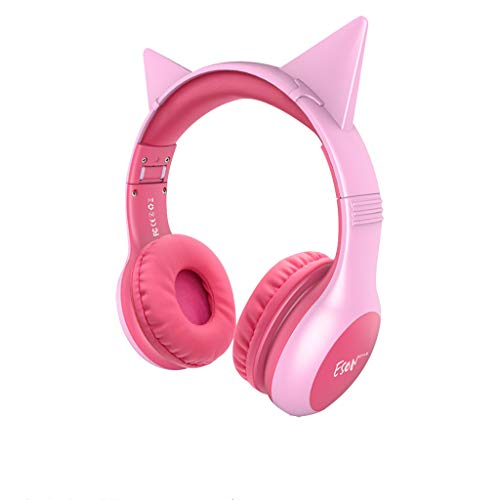 Wokee Faltbares Rosa Kids Katzeohr Headset Professionelle mit Mikrofon 3.5mm Surround Sound Ohrhörer mit Bass-Stereo Lautstärkeregelung für PC Laptop Tablet Mobile Phones Xt Bundle