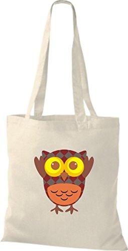 ShirtInStyle Jute Stoffbeutel Bunte Eule niedliche Tragetasche mit Punkte Karos streifen Owl Retro diverse Farbe, schwarz natur