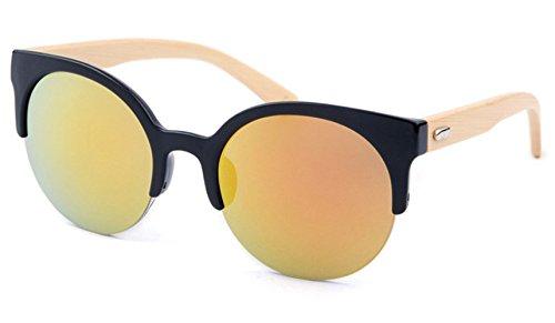 Preisvergleich Produktbild Panelize Vintage Cateye Spiegel Sonnenbrille mit Holzrahmen getönte Gläser Unisex Bamboo Bambus (Orange)