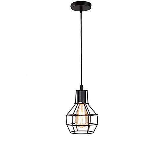 Lámpara Colgante,Lámpara De Techo Moderna Retro Hierro Lámpara Vintage Lámpara de estilo Industrial minimalista Lámpara de Techo,Negro,Iluminación 60W Colgante de Luz,Portalámparas E27