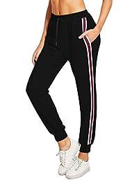Lantch Femme Pantalon Survêtement Pantalons Jogging Yoga Rayures Pantalon  de Sport Décontracté Sweatpants 63dc301a72c