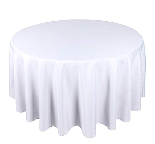 Mantel Redondo Blanco Lino Banquete Poli Impecable