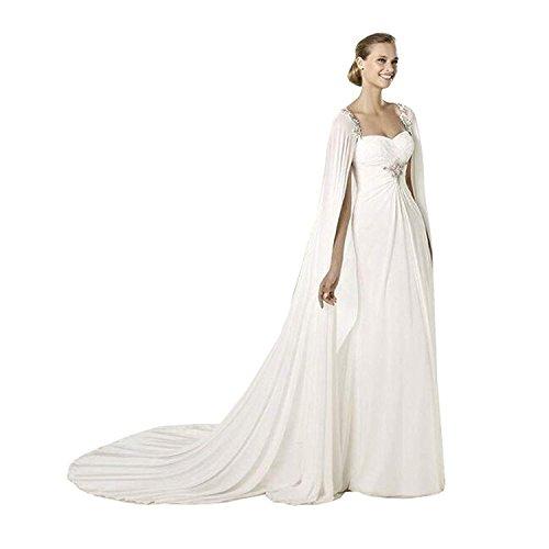 Frauen 200CM Weiß Chiffon Hochzeits Umhang Brautcape Brautjacke Damen Brautstola Bolero (Ivory,...