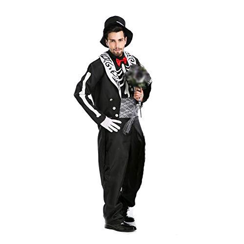 TTSTR Halloween Kostüme Zum Paare Einstellen Cosplay Braut Kleid Bräutigam Passen Zum Geist Festival Kleider Halloween Spiel Anzüge,Men