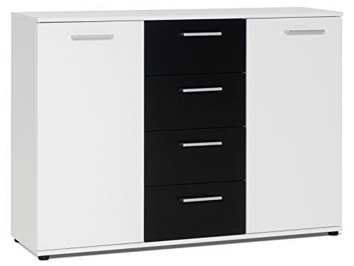 """Sideboard Standschrank Anrichte Beistellschrank Highboard Kommode \""""Jacklin I\"""" Weiß/Schwarz"""