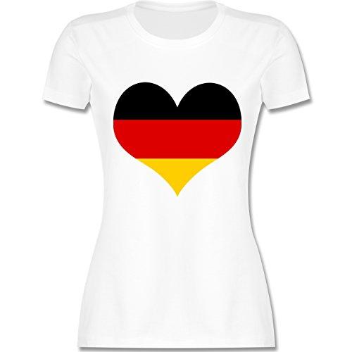 EM 2016 - Frankreich - Deutschland Herz - tailliertes Premium T-Shirt mit Rundhalsausschnitt für Damen Weiß