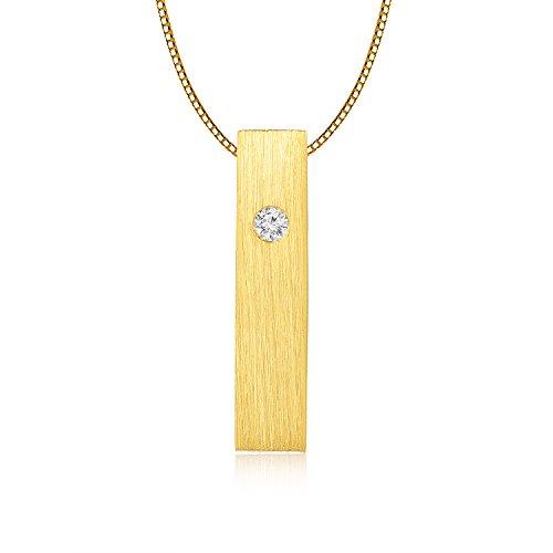 LR accessori 9rettangolare in oro bianco/giallo con diamante solitario collana (0,006ct, diamante, colore vs2-si2chiarezza), oro (18k Oro Bianco Della Collana Di Diamante Solitario)