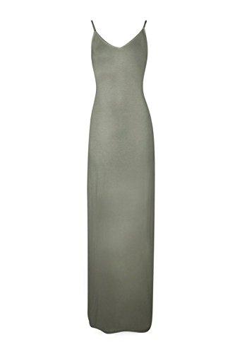 Kaki Femmes Grand Mei Lace Up Retour V Neck Maxi Dress Kaki