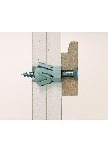 fischer PD 10 - Plattendübel zum Befestigen von Bildern, Gardinenschienen, Handtuchhaltern in Gipskarton und Gipsfaserplatten, Holzplatten, MDF-Platten - 100 Stück - Art.-Nr. 15935