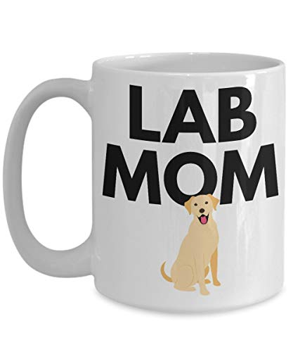 Lab Mom Mug - Yellow Labrador Retriever Dog Coffee Cup - Cute Mother's Day Birthday Gift Idea - Ceramic White