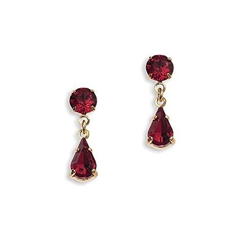 Swarovski Earrings - Ruby Teardrop Earrings - Red Earrings - Diamante Earrings- Ladies Presents - Gold Plated/Pierced