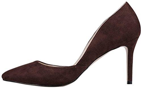 Calaier Femme Camiss 8.5CM Aiguille Glisser Sur Escarpins Chaussures Marron