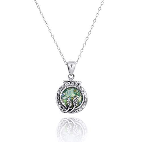 Runde römische Glas Anhänger für Frauen massiv 925 Sterling Silber natürlichen Edelstein Schmuck -