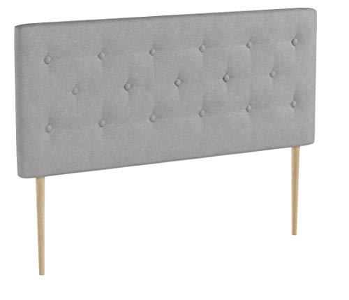 marcKonfort Tête de lit Oslo 140 cm, capitonnée Tissu Grey
