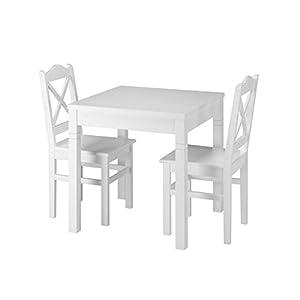 Erst-Holz® Weiße Essgruppe mit Tisch und 2 Stühle Kiefer Massivholz 90.70-50 B W-Set 20