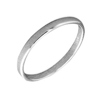 Sterling Silver Solid 2mm Plain Band - Ring Size O