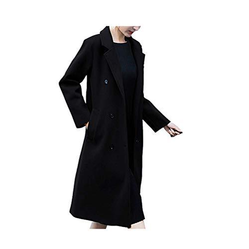 Yowablo Damen Winter Jacke Wintermantel Revers Mantel Trench Jacke Slim Formal Mantel Winterbekleidung (XXL,Schwarz)