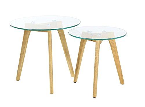 Id'Click Tables Basses gigognes chêne et Verre Scandie