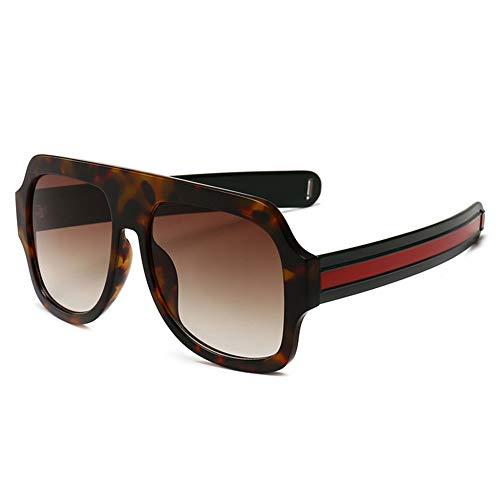 BFQCBFSG Männer Frauen Sonnenbrillen Retro Mode Dicke Linie Spiegel Beine Quadratische Große Kiste Europa Die Vereinigten Staaten Straße Schießen Trend Urlaub Streifen Trendige Sonnenbrille, Braun