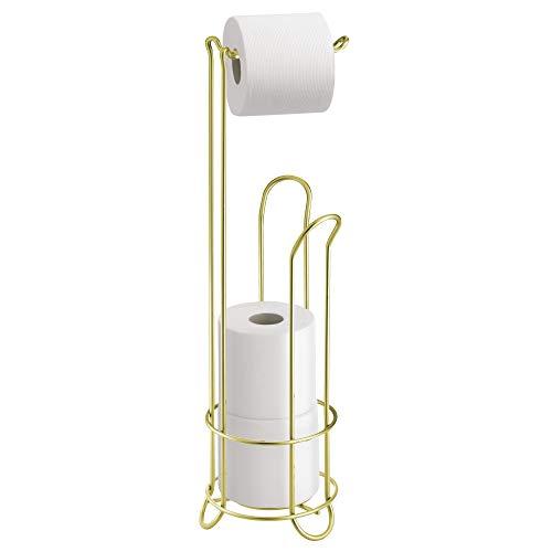 iDesign Klopapierhalter mit Ersatzrollenhalter, schmaler Toilettenpapierhalter stehend aus Metall, freistehender Toilettenpapierständer für insgesamt 4 Rollen, goldfarben