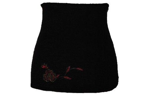 Belldessa Nierenwärmer Uni schwarz schwarzer rote Blume Blüte Applikation Bauchwärmer Fleece Frottee Nierengurt Leibwärmer Männer Frau Kinder Sport Baby Gr. Größe Gr. X..
