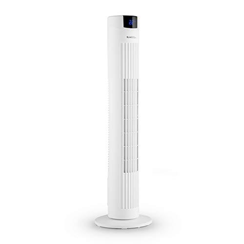 KLARSTEIN Skyscraper 2G Summer Edition - Ventilateur Tour, Ventilateur Colonne, minuterie d'arrêt, encombrement réduit, 3 Vitesses, 40W, Oscillation, 22,5 cm Ø, avec télécommande, Blanc