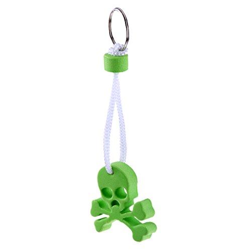 Sharplace Schwimmender Schlüsselanhänger Totenkopf EVA Schädel Schlüsselbund mit Schlüsselring, Grün (Eva-skelett)