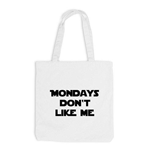Iuta sacchetto–Mondays Don' t Like Me–Lunedì Fun Work Bianco