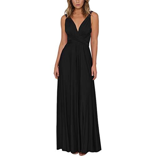 KUKICAT Kleider Damen V-Ausschnitt Rückenfrei Neckholder Abendkleider Elegant Cocktailkleid Multi-Way Maxikleid Lang Party ()