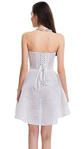 Charmian Women's Steampunk Gothic Rose Print Zipper Boned High Low Corset Dress Bianco