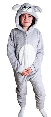 Kostüm Mops Herr - Kinder Jungen Mädchen Strampelanzug Schlafoveralls Tier Overall flauschig Fleece Jumpsuits Mops Teddybär Affe Dalmatiner Schaf Gorilla - Alter 2-13 Jahre, 3-4 Weiches Graues Kaninchen
