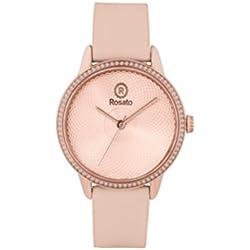 Uhr Rosé Damen rwro08Quarz (Batterie) Stahl Quandrante Gold Pink Armband Leder