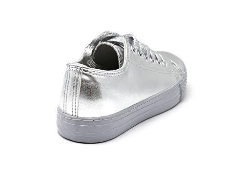 SHY56 * Baskets Tennis Sneakers Simili Cuir Vernis Argenté avec Reflets Métallisés, Surpiqûres et Lacets Brillants Argenté