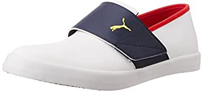 Puma Unisex El Rey Milano II DP White, Navy Blue, High Risk Red and Dandelion Sneakers - 11 UK