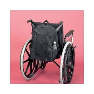 Homecraft Deluxe Wheelchair Bag, Black, Stylish & Spacious, Pockets for Personal Items, For Wheelchairs & Scooters, Zippered Internal Pocket Keeps Valuables Safe, (Eligible for VAT Relief in the UK)