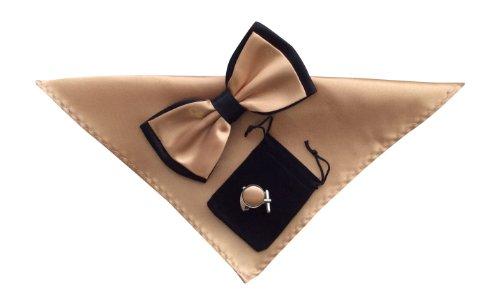 Sock Snob - Homme noeud papillon, Mouchoir/carré de poche et des boutons de manchette réglée en 34 couleurs! (Champagne/Noir 25)