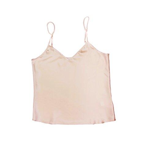 Jasmine Silk pura seta canotta Chemise maglia della parte superiore Nude (M)
