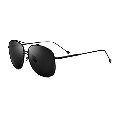 Neue ultraleichte Sonnenbrille aus reinem Titan for männliche Fahrer Schutzbrillen Polarisierte quadratische Sonnenbrille Weiblicher schwarzer Rahmen Graues Objektiv UV400-Schutz Brille