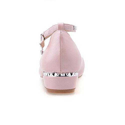 VogueZone009 Femme à Talon Bas Matière Souple Mosaïque Boucle Fermeture D'Orteil Rond Chaussures Légeres Rose