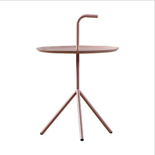 M-JH Table d'appoint, Salon Design européen Minimaliste Moderne en Fer forgé côté Quelques Tables Rondes en métal créatif Petite Table Basse (Couleur : Pink)
