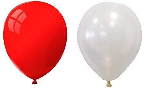 INERRA Globos - Paquete de 50 Mezclado (25 x Blanco & 25 x Rojo) Látex 10' for Helio O Aire -Cumpleaños Y Boda