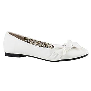 Klassische Damen Strass Ballerinas Elegante Slipper Übergrößen Metallic Glitzer Flats Schuhe 144229 Weiss Weiss Muster 38 Flandell
