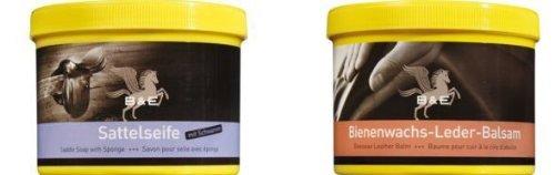 Preisvergleich Produktbild Lederseife 250 ml + Bienenwachs Lederpflege Balsam, 500 ml, incl. 4 VARTA High Energie AA 1,5 V Batterie