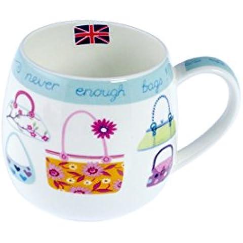 H&H Juego de 6 tazas de porcelana abrazo convexa bolsas decorativas