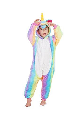 OAMORE Kinder Schlafanzug Einhorn Kostüm Jumpsuit Onesie Tierkostüm Schlafanzug Verkleiden Cosplay Schlafanzug zum Karneval Fasching (Kids-Rainbow, 125) (Tweens Halloween-kostüme Für)