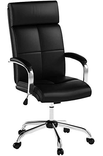 INTEY Chefsessel, Bürostuhl mit hoher Rückenlehne, Bürosessel, PU Bürostuhl, Höhenverstellung, Kunstleder Dicker Schwamm, Schreibtischstuhl, ergonomisches Design, Belastbar bis 120 kg
