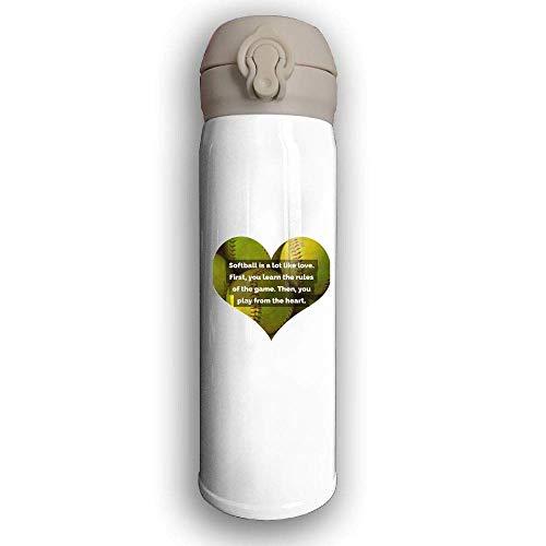 Bestqe Vakuumisolierte Trinkflasche,Wasserflasche,Thermosflasche, Ive Love - Softball Stainless Steel Mug 17 OZ Double Walled Vacuum Insulated Water Bottles 17 Oz Mug