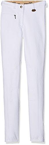 HKM 2003 Reithose Basic, Damen Mädchen Kniebesatzhose Kniebesatz, weiß, 158