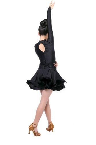 Colorfulworldstore Reguläres Mädchen/Frauen Turnierkleid für Lateinamerikanische Tänze-Cha cha cha Latin Rumba Samba Kleid-Langärmeliges tailliertes schwingendes Kleid (Lady-M-160cm Höhe, Schwarz)